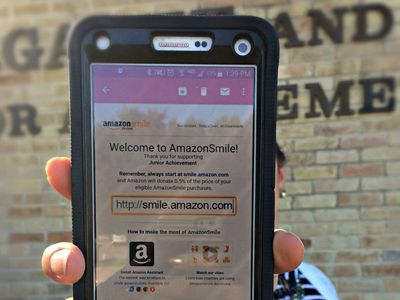 cellphone displaying a donation application