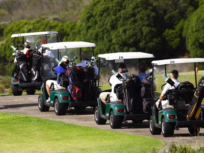 People driving down a golf path in carts having a good time